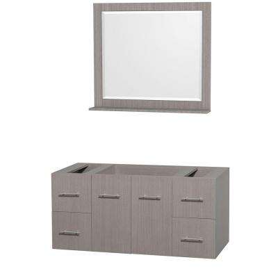 Centra 47 in. Vanity Cabinet with Mirror in Gray Oak