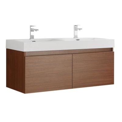 Mezzo 48 in. Modern Wall Hung Bath Vanity in Teak with Double Vanity Top in White with White Basins