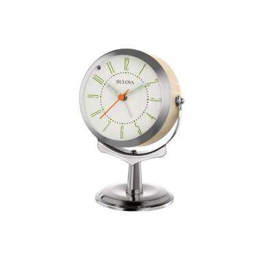 6 in. H x 4 in. W Almond Colored Pedestal Alarm Clock in Silver Tone and Metal Case