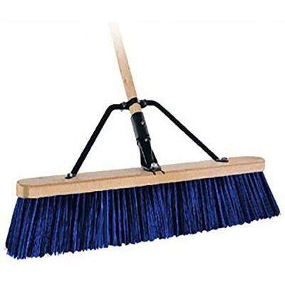 24 in. Stiff Bristle Paver Push Broom with 5 ft. Handle