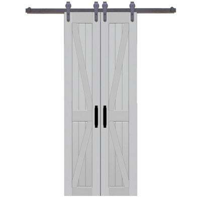 42 in. x 84 in. Board and Batten Composite PVC Silver Fox Split Barn Door with Sliding Door Hardware Kit
