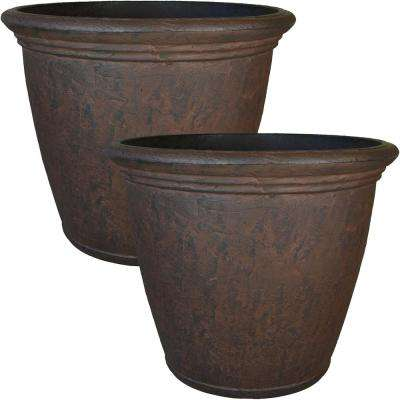 24 in. Rust Anjelica Resin Outdoor Flower Pot Planter (2-Pack)