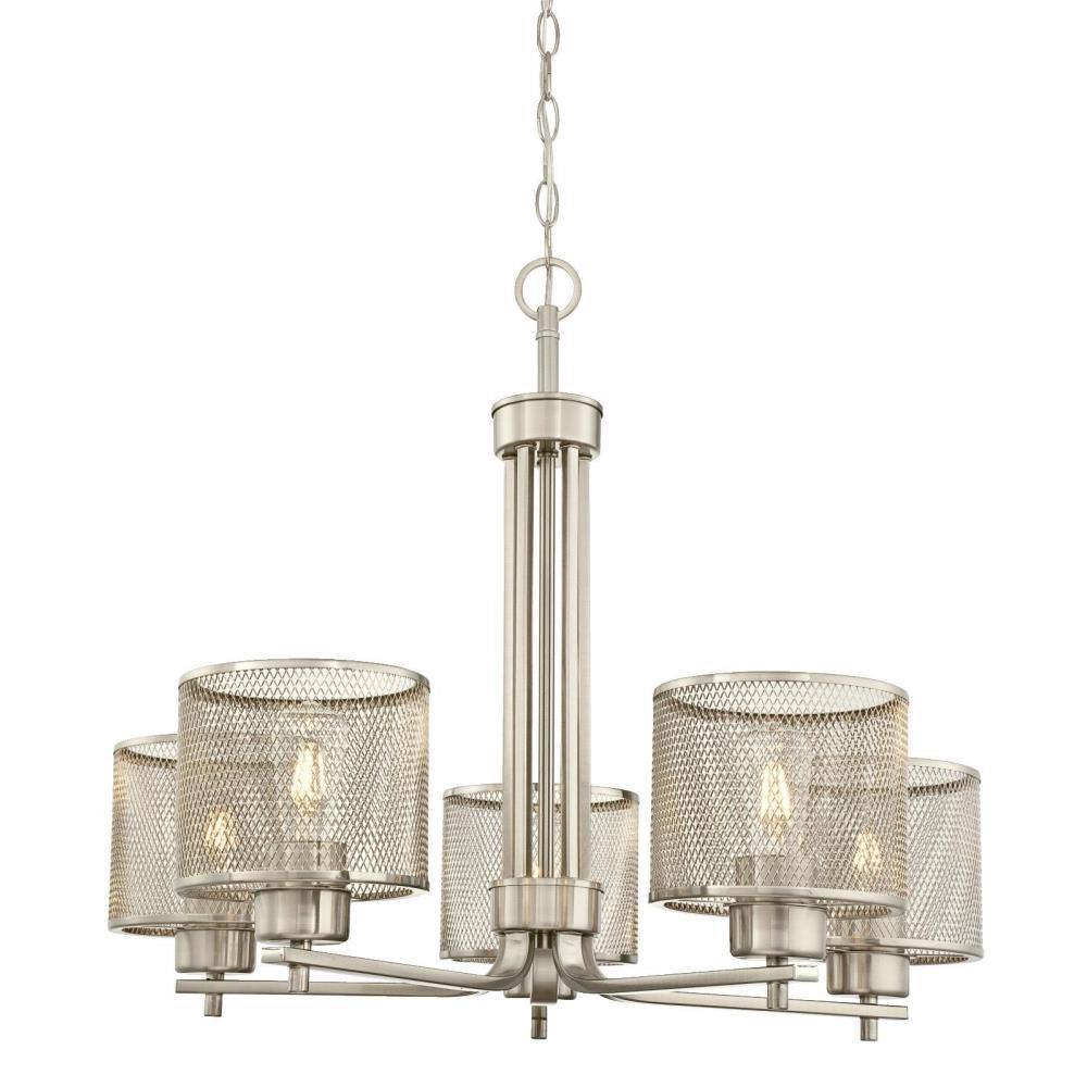 Westinghouse Morrison 5-Light Brushed Nickel Chandelier with Mesh Shades