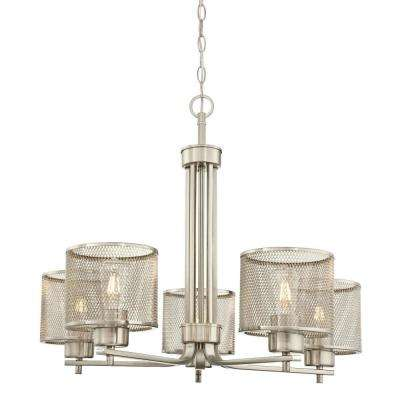 Morrison 5-Light Brushed Nickel Chandelier with Mesh Shades