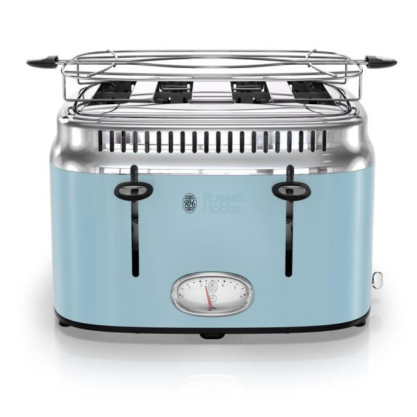 Russell Hobbs Retro Style 4-Slice Heavenly Blue and Stainless Steel Toaster with Built-In Timer