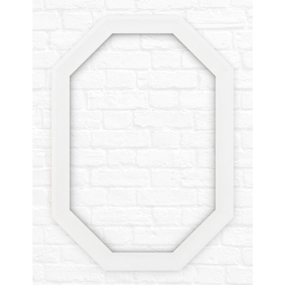 33 in. x 46 in. (L3) Octagonal Mirror Frame in Matte White