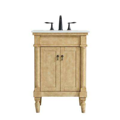 Timeless Home 24 in. W x 21.5 in. D x 35 in. H Single Bathroom Vanity in Antique Beige with White Marble Top and Basin