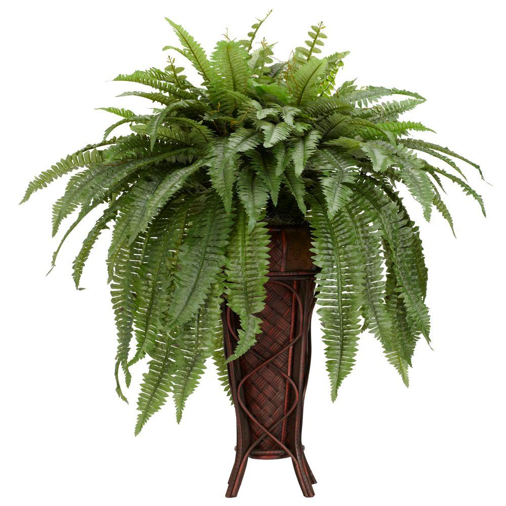 Nearly Natural 38 in. H Green Boston Fern with Stand Silk Plant