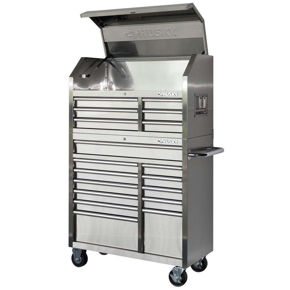 Husky 40 in. 18-Drawer Stainless Steel Tool Chest and Rolling Tool Cabinet Set