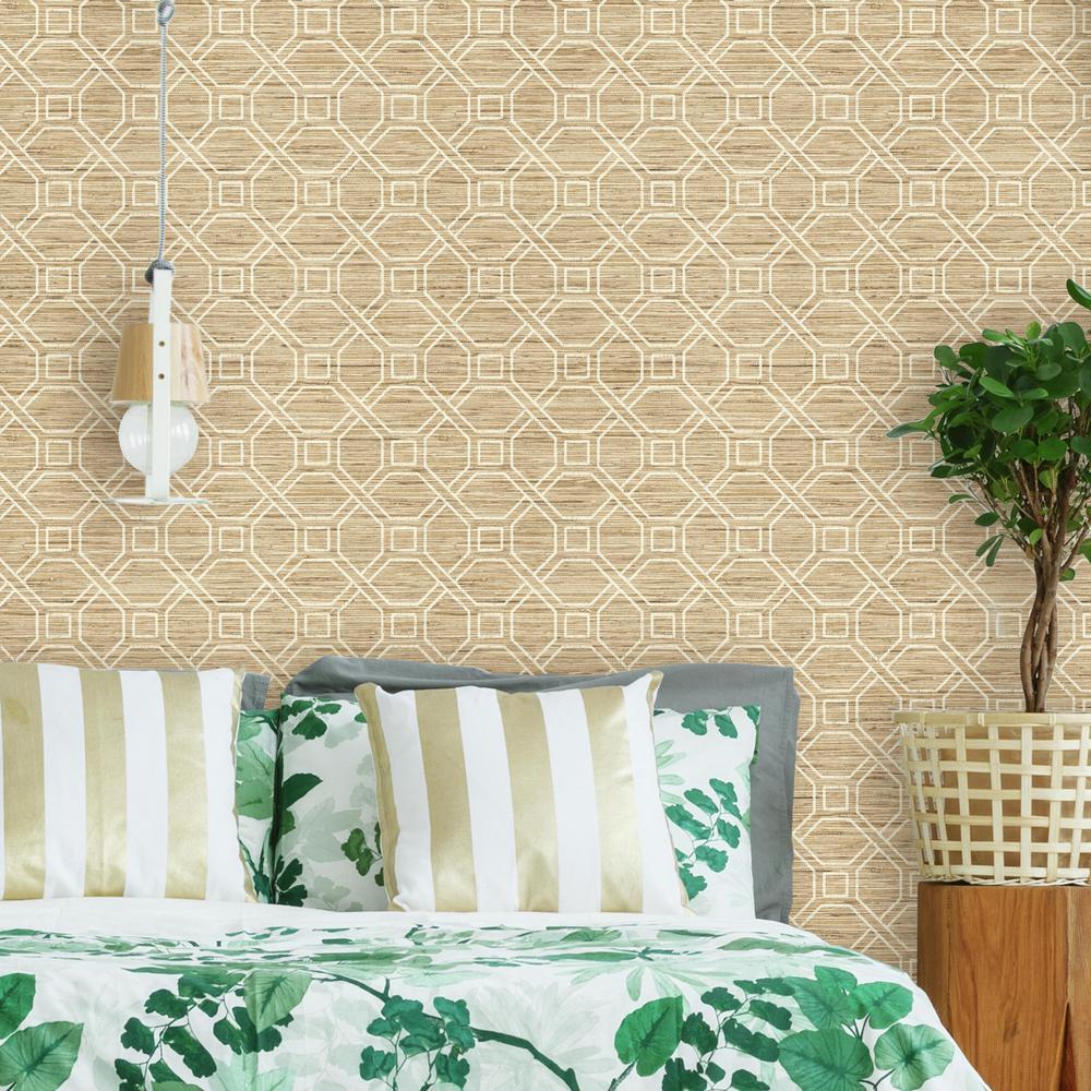 28.18 sq. ft. Coastal Trellis Peel and Stick Wallpaper
