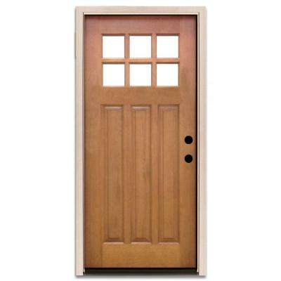Craftsman wood doors front doors the home depot for Front door with 6 windows