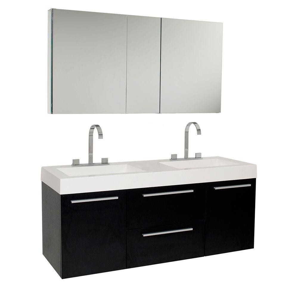 Fresca Opulento 54 in. Double Vanity in Black with Acrylic Vanity Top in White with White Basins and Mirrored Medicine Cabinet