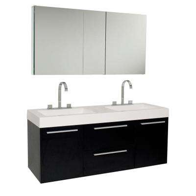 Opulento 54 in. Double Vanity in Black with Acrylic Vanity Top in White with White Basins and Mirrored Medicine Cabinet