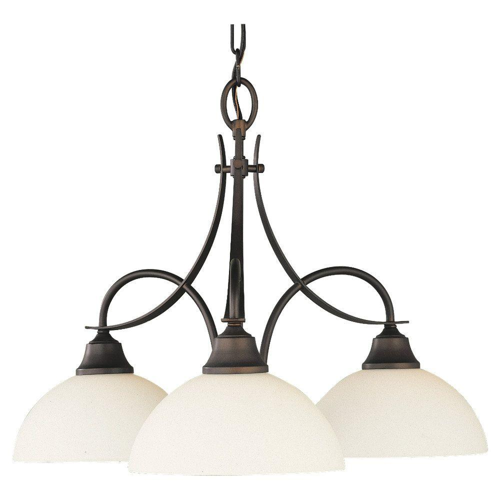 Feiss Boulevard 3-Light Oil Rubbed Bronze Chandelier with White Opal Glass Shade