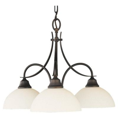 Boulevard 3-Light Oil Rubbed Bronze Chandelier with White Opal Glass Shade