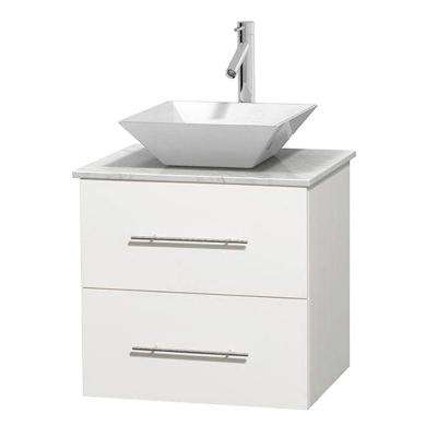 Centra 24 in. Vanity in White with Marble Vanity Top in Carrara White and Porcelain Sink