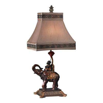 Alanbrook 24 in. Bronze Elephant and Monkey Table Lamp