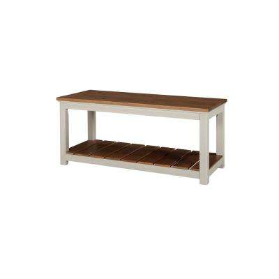 Savannah Ivory with Natural Wood Top Bench
