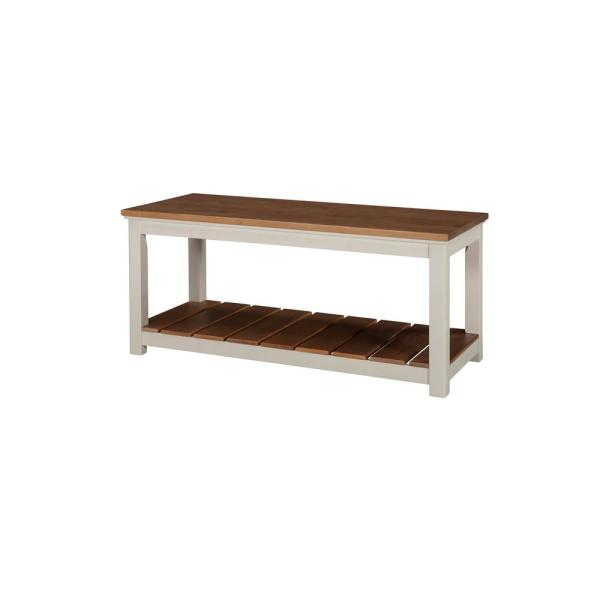 Alaterre Furniture Savannah Ivory with Natural Wood Top Bench ASVA03IVW