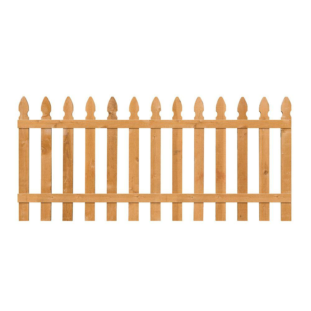 null 3-1/2 ft. H x 8 ft. W Cedar Spaced French Gothic Fence Panel