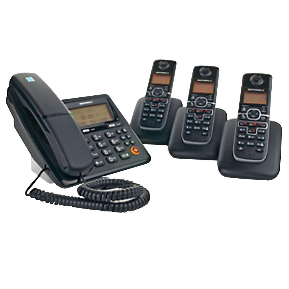 motorola dect 6 0 corded and cordless phone system with 4 handsets and answering system moto. Black Bedroom Furniture Sets. Home Design Ideas