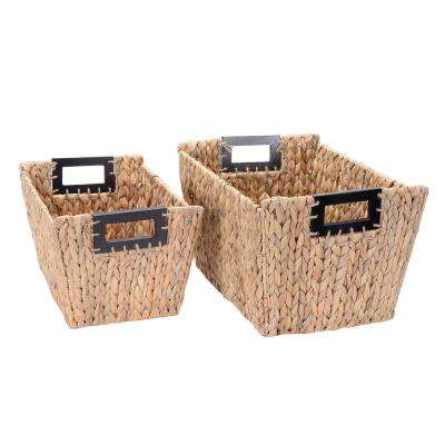 12 in. W x 9 in. H Handmade Water Hyacinth Wicker Rectangle Nesting Baskets in Natural (2-Pack)