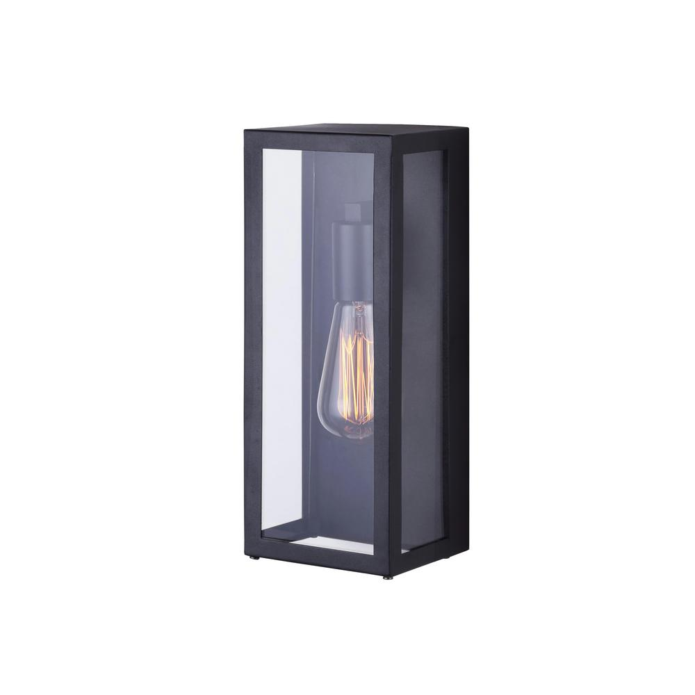 H CANARM Galia 1Light Black Outdoor Wall Light With Clear Glass