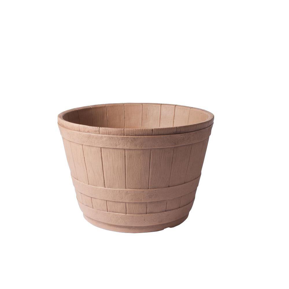 20 in. x 13 in. Walnut Vintage Barrel Plastic Planter