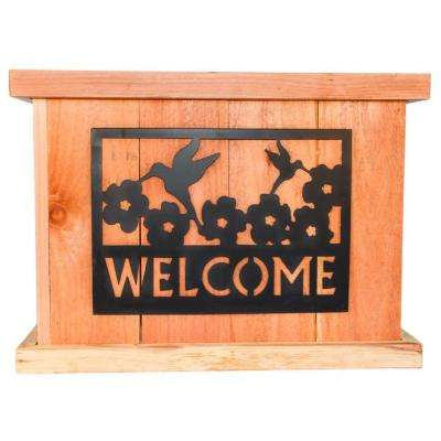 22 in. x 22 in. Deluxe Redwood Planter with Welcome Sign Art