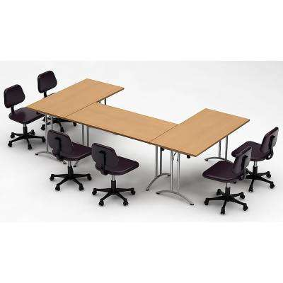 3-Piece Natural Beech Conference Tables Meeting Tables Seminar Tables Compact Space Maximum Collaboration