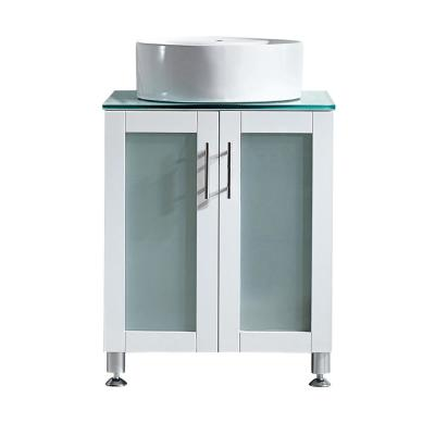 Tuscany 24 in. Vanity in White with Tempered Glass Vanity Top in Aqua with White Vessel Basin