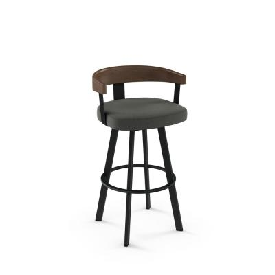 Lars 26 in. Charcoal Grey Polyester / Black Metal Swivel Counter Stool