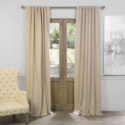 Semi-Opaque Classic Taupe Beige Blackout Curtain - 50 in. W x 96 in. L (Pair)
