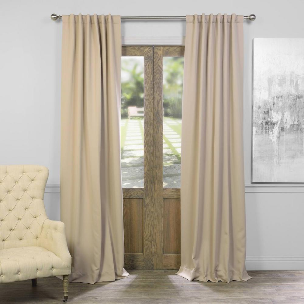 Exclusive Fabrics Furnishings Semi Opaque Classic Taupe Beige Blackout Curtain