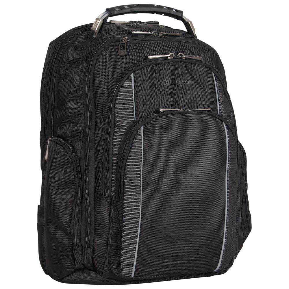 4f0cab585e55 Heritage Urban Traveler Polyester Dual Compartment Checkpoint Friendly 17  in. Black with Charcoal Trim Laptop