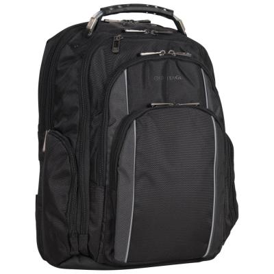 Urban Traveler Polyester Dual Compartment Checkpoint Friendly 17 in. Black with Charcoal Trim Laptop Business Backpack