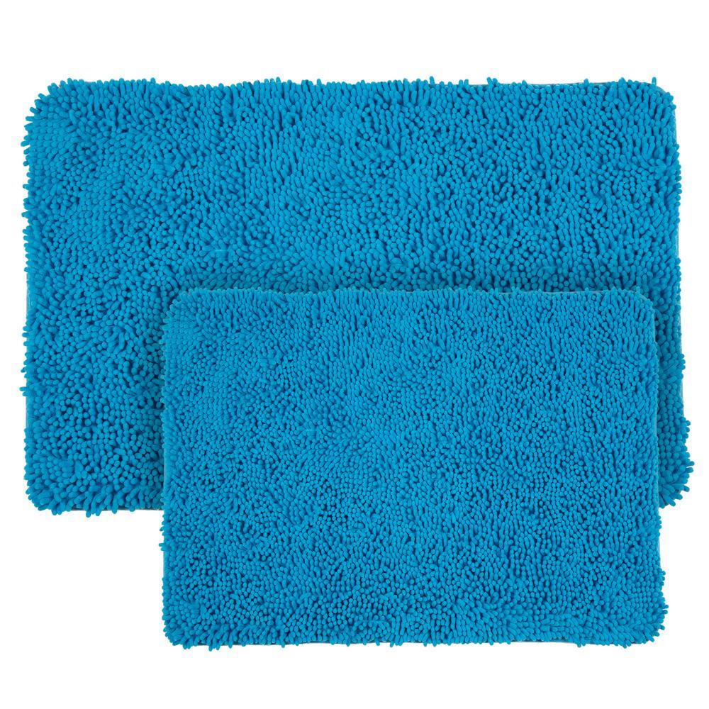 Shag Blue 21 in. x 32 in. Memory Foam 2-Piece Bath Mat Set