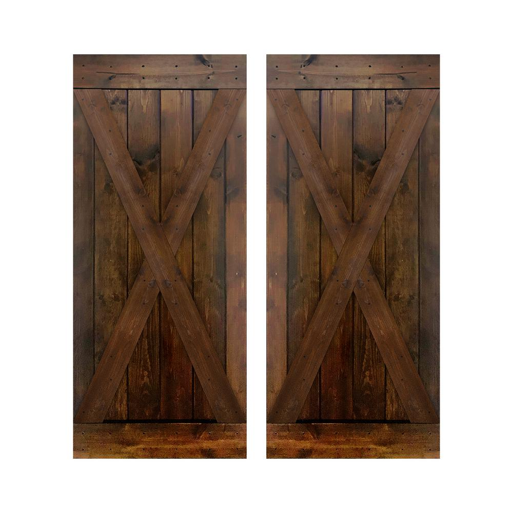 Akicon D2x Series 76 In X 84 In 12 Panel Dark Brown Painted Wood Sliding Door Without Installation Hardware Kit Jm D2x Db 76 The Home Depot