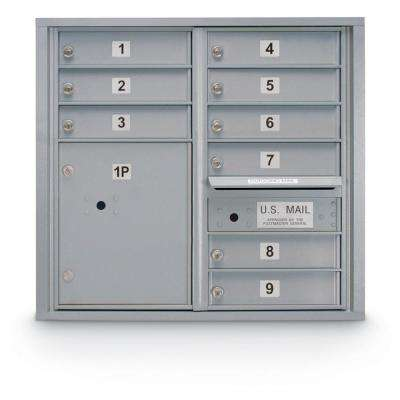 9-Door Standard 4-Compartment Mailbox with 1 Parcel Locker in Silver