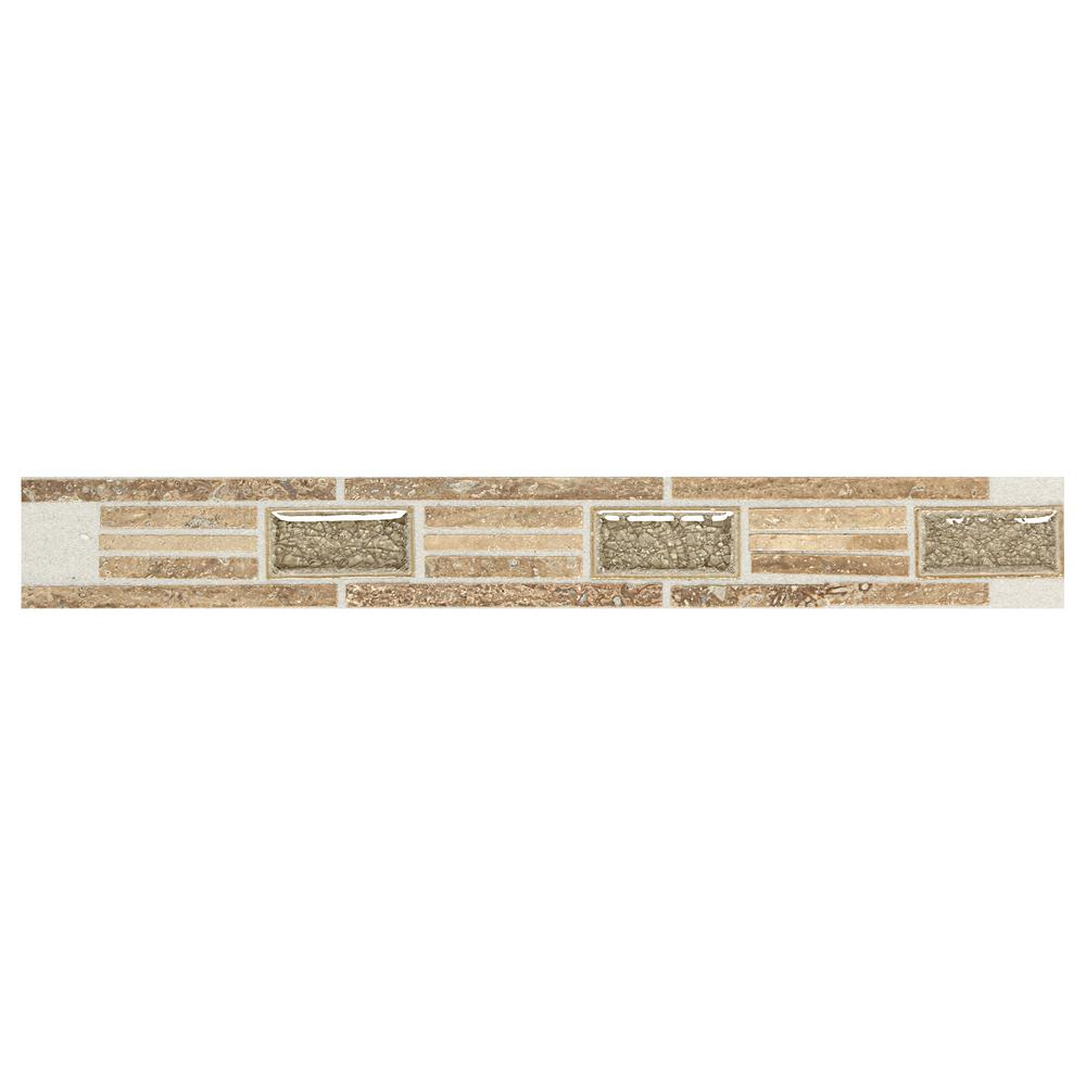 Daltile Stone Decor Linear Fantasy 1-5/8 in. x 12 in. Travertine with Crackled Glass Accent Wall Tile