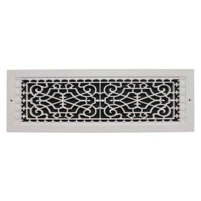 Victorian Wall Mount 6 in. x 22 in. Opening, 8 in. x 24 in. Overall Size, Polymer Decorative Return Air Grille, White