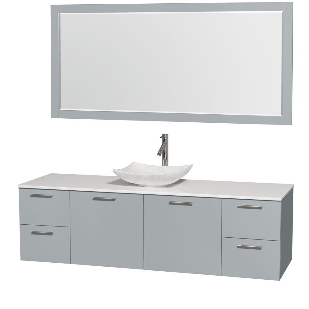Wyndham Collection Amare 72 in. W x 22 in. D Vanity in Dove Gray with Solid-Surface Vanity Top in White with White Basin and 70 in. Mirror