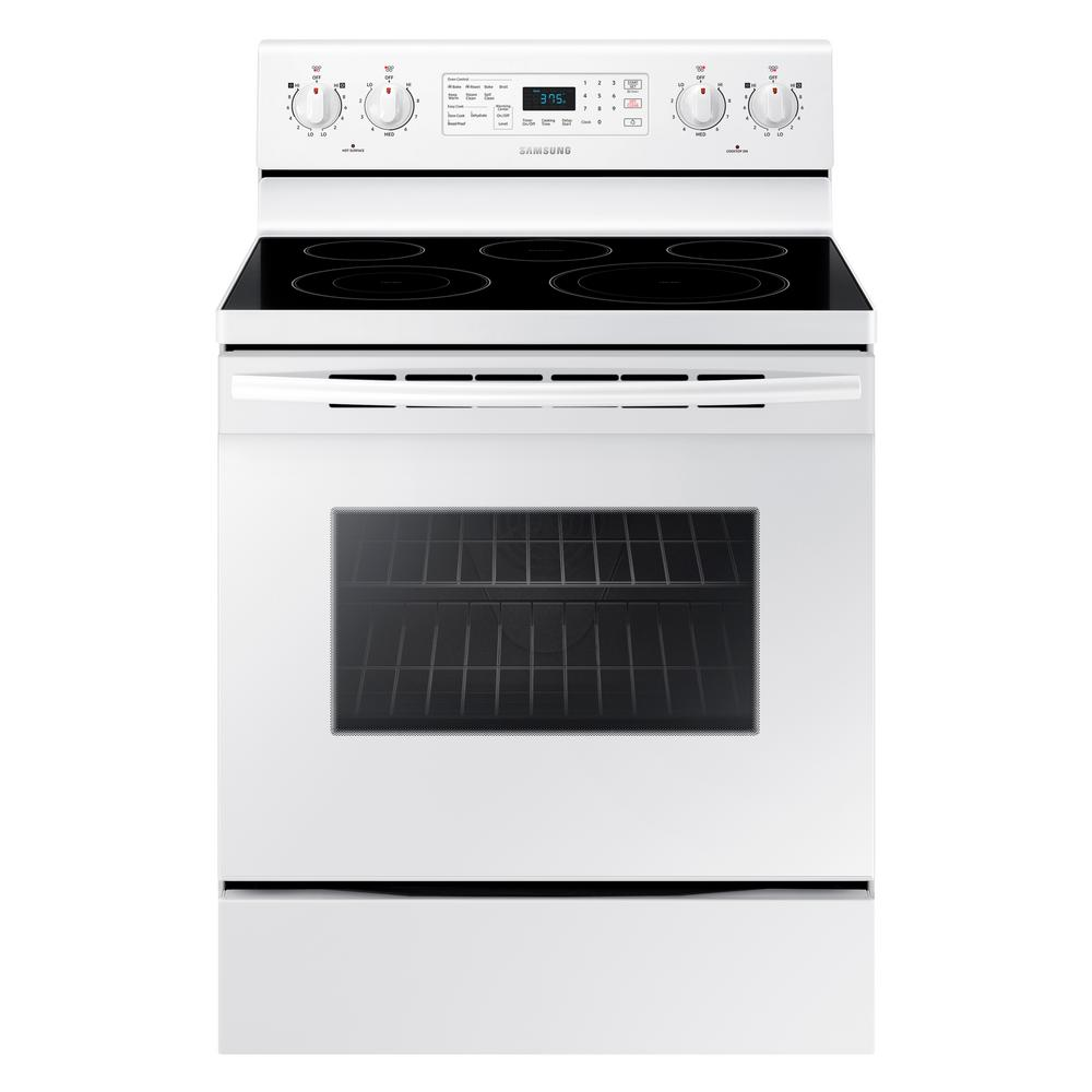 Samsung 30 in. 5.9 cu. ft. Single Oven Electric Range with Self-Cleaning and Convection Oven in White