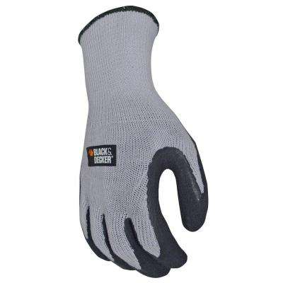 Mens X-Large Gray Textured Rubber Latex Grip Glove