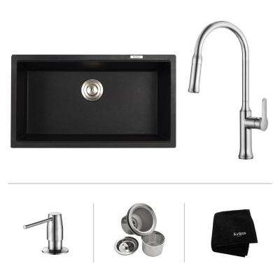 All-in-One Undermount Granite Composite 32 in. Single Bowl Kitchen Sink with Faucet and Pop Up Drain in Chrome