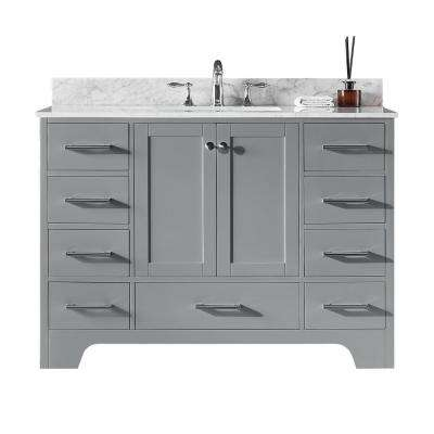 Clariette 48 in. W x 22 in. D x 34.21 in. H Bath Vanity in Taupe Grey with Marble Vanity Top in White with White Basin