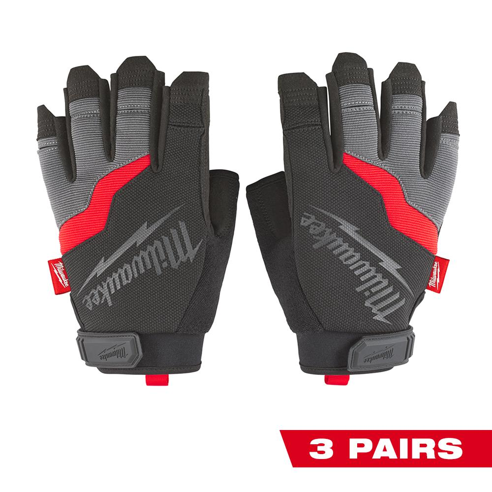 Milwaukee X-Large Fingerless Work Gloves (3-Pack)