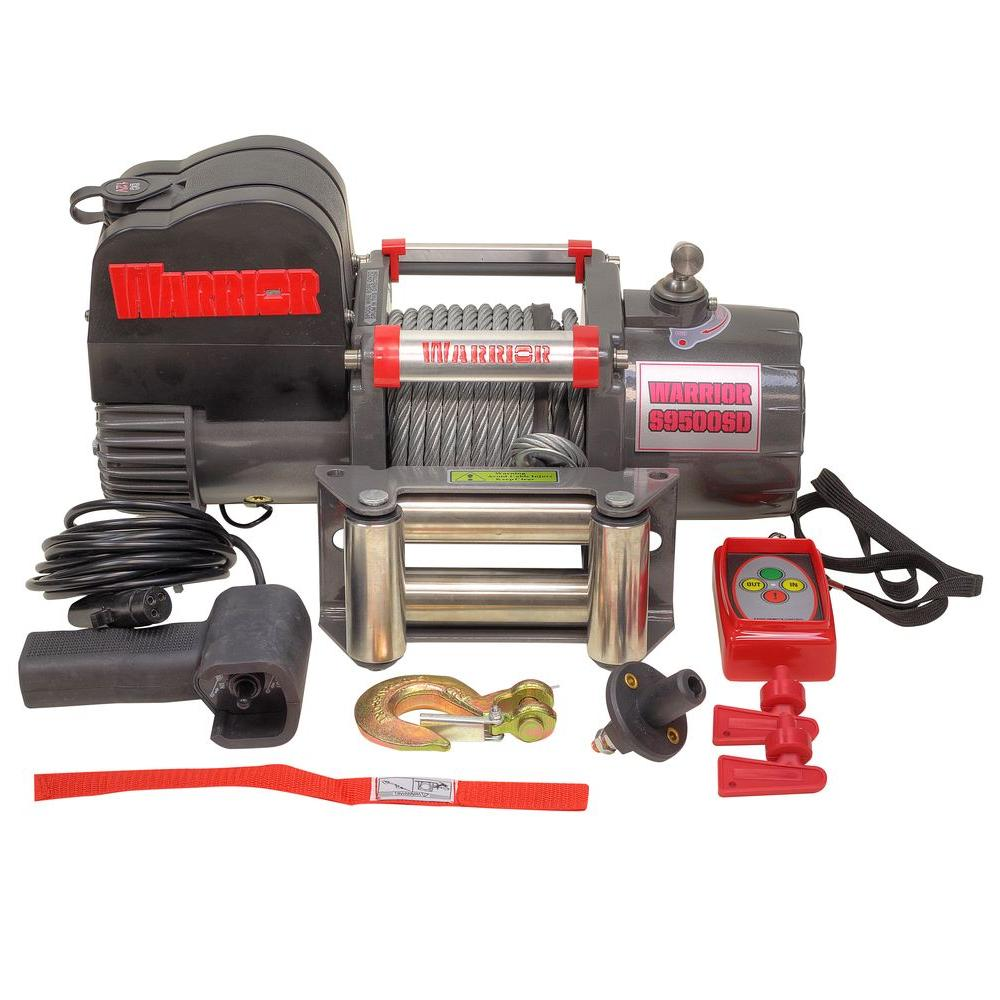 9,500 lb. Capacity Short Drum 12-Volt Electric Winch with...