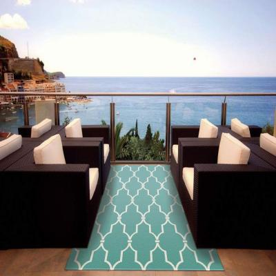 Delos Aqua 8 ft. x 11 ft. Indoor/Outdoor Area Rug