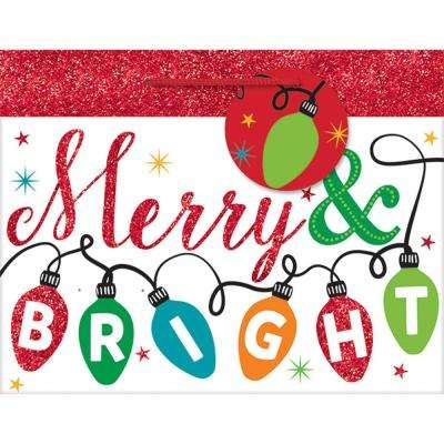 7 in. x 9 in. x 4 in. Merry and Bright Glitter Bags (18-Pack)